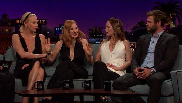 Elenco de 'O Caçador e a Rainha do Gelo' comparece ao The Late Late Show with James Corden