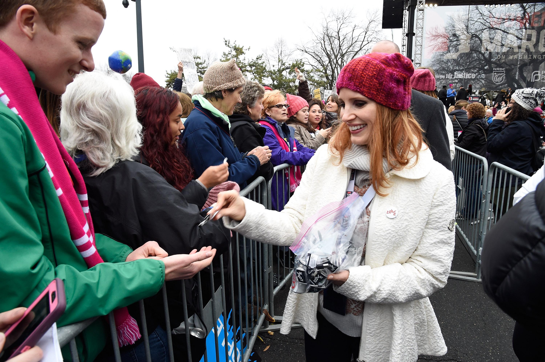 Jessica Chastain participa da Marcha das Mulheres em Washington